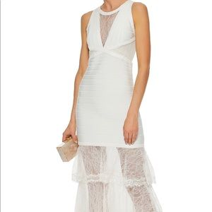 Herve Leger Ivory Bandage Lace Gown